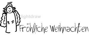 """Holzstempel """"Fröhliche Weihnachten"""" mit Engel - 5 cm x 2 cm"""