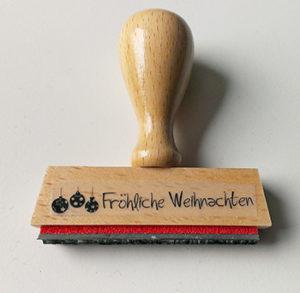 """Holzstempel """"Fröhliche Weihnachten"""" 50 mm x 8 mm"""