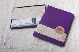 6 Fotoboxen - 20,5 cm x 15 cm - 2 cm - violett - fertig dekoriert