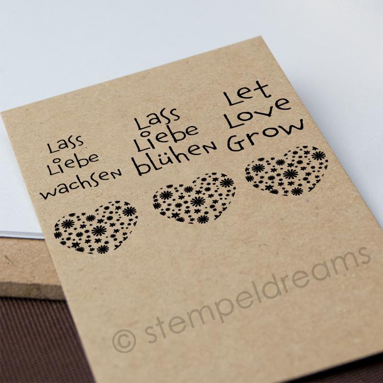 Lass Liebe Wachsen Lass Liebe Blühen Let Love Grow Holzstempel Für Anhänger Karten Oder Beutel Motiv 360