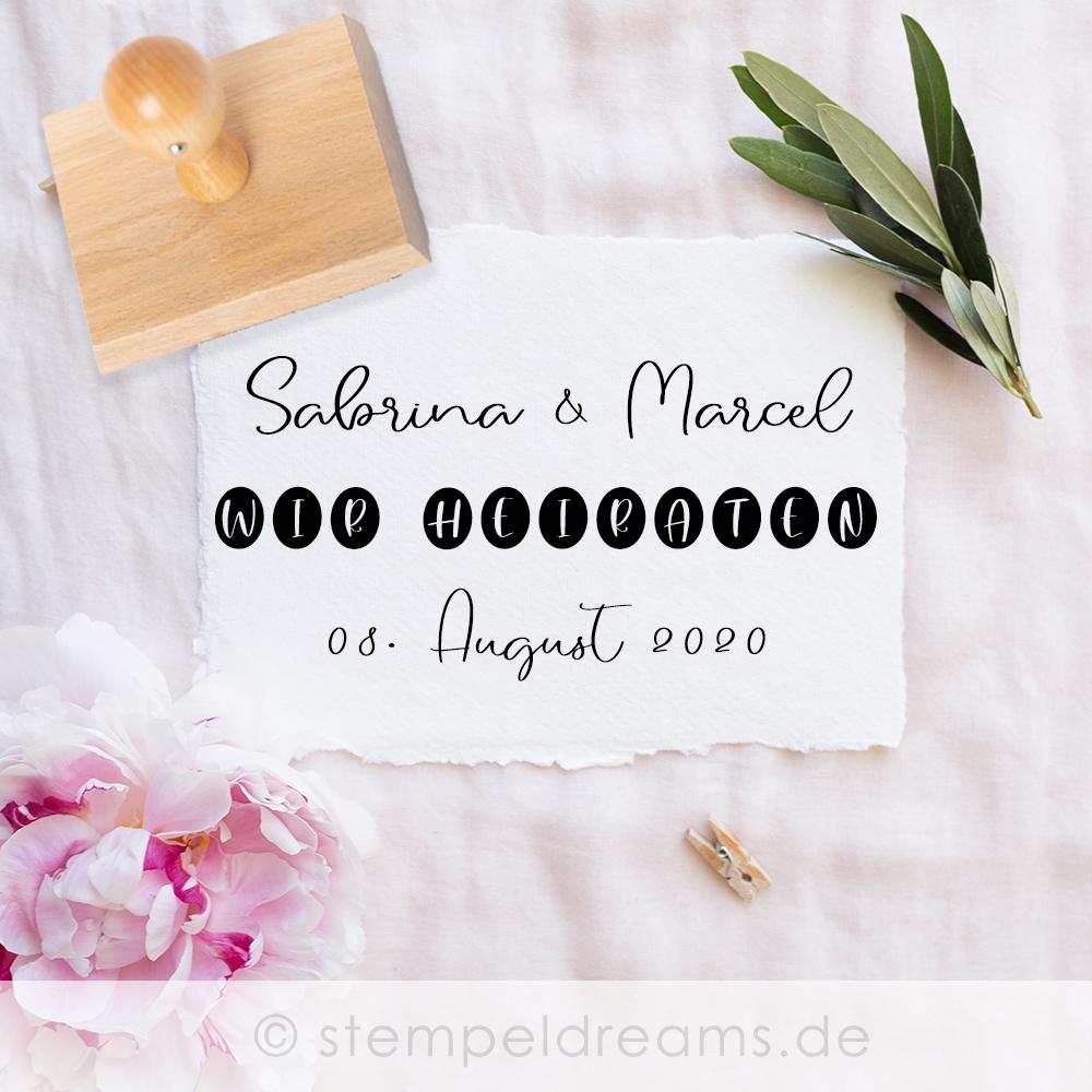 Wir heiraten Stempel personalisiert - stempeldreams.de